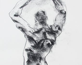 "Male Back Figure Drawing  - 11 x 14"",  fine art - Drawing 170 - charcoal on paper - original drawing"