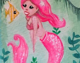Original Mini Framed Art Mermaid painting by Amanda Christine 4x3 inches Hot Pink Mermaid Mini Mermaid illustration