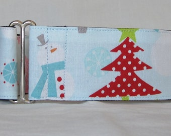 SALE Frosty Tree Martingale Dog Collar - 1.5 or 2 Inch - blue red pink polka dot winter snowman snow holiday