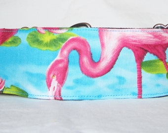 SALE Flamingo Martingale Dog Collar - 1.5 or 2 Inch - pink blue water bright bird sunny warm florida
