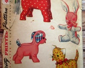 Vintage Stuffed Toys Pattern: Dog, Cat, Horse and Rabbit Simplicity Pattern 4915 Cut/Complete