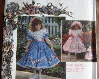 Little Girls Dress with Short Puffed Sleeves, Hat and Purse Sizes 5 6 7 8 Daisy Kingdom Simplicity Pattern 9456 UNCUT Vintage 1990s