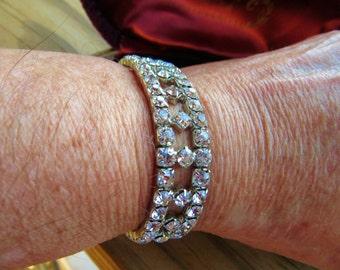 Vintage Art Deco Expansion Bridal Bracelet Brilliant White Rhinestones all prong Set