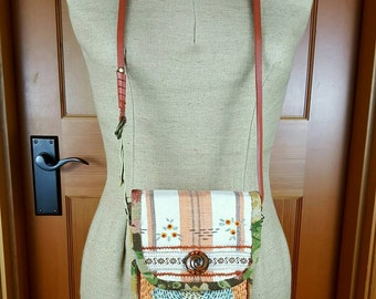 Handcrafted Purse made from Vintage Quilt, Embroidered Linen Hand Towel, Floral Linen, Vintage Trims, Copper Brooch, Adjustable Strap, Beads