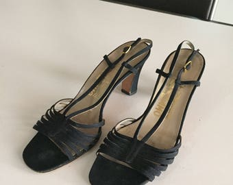 Vintage Salvatore Ferragamo Pumps/Made in Italy/Vintage Black Sandals/Suede Fabric Material/ Size 8 M  By Gatormom13