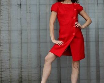 NIPON PETITES Korean vintage dress -80s RED vintage dress