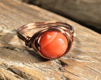 Red Line Agate stone , antique copper wire ring - size 8 1/2 , 8.5 - orange gemstone / faceted stone / wire wrapped ring / men women ring