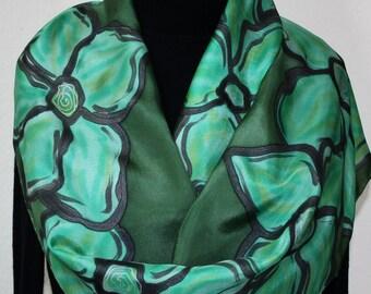 Dark Olive, Moss Green Hand Painted Silk Scarf TEA GARDEN, in Several SIZES. Silk Scarves Colorado. Elegant Handmade Scarf. Birthday Gift