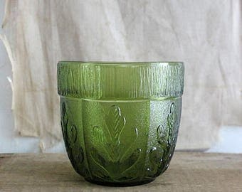 Vintage FTD Green Glass Planter
