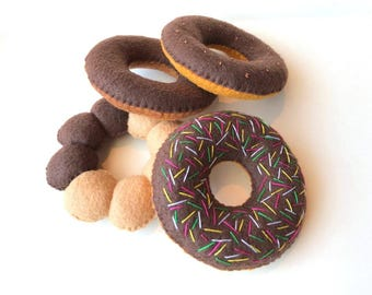 Felt food donuts set (chocolate) eco friendly kid's play food for toy kitchen, set of 4 felt donuts, toy donuts, felt donuts, pretend donuts