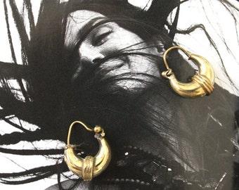 Tiny Delicate Brass hoop earrings minimalist Ethnic Tribal Gypsy Boho Bohemian Asian style earrings by Inali