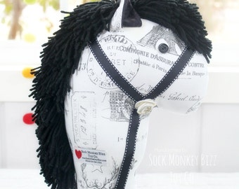 On Sale Thru June 13th - Stick Horse, Handmade Ride-On Hobby Horse Toy, Black and White Paris Print