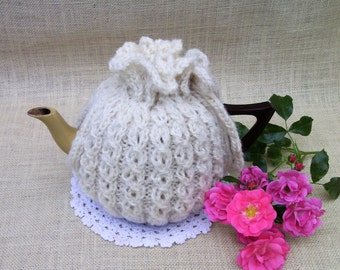 Tea Cosy - Hand knitted in keyhole rib using  soft white  Handspun  Pure Wool
