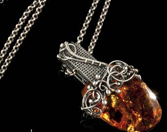 In the Heart of the Sea Pendant - Baltic Amber and Silver