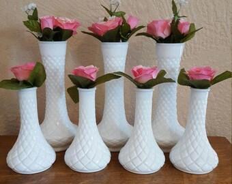 7 Milk Glass Bud Vases Diamond Wedding Centerpieces - Oak Hill Vintage