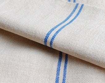 VINTAGE European Grain Sack with BLUE stripes - Warm Antique Ivory Color