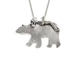 Book Lover Jewelry Gift, Mama Bear Necklace, Sterling Bear Necklace, Robin Wade Jewelry, Luna And Bear Emmet Enjoy Reading, Pendant, 2403
