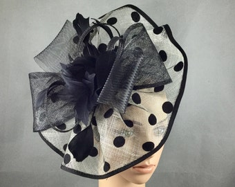 Black and White Polka Dot Sinamay Fascinator with Headband,Tea Party Dress Fascinator