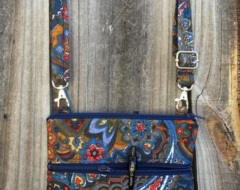 Small Cross Body Bag Purse, Sling Bag, Hip Bag Zipper Closure -  Blue, Red and Yellow Paisley