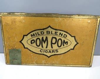 Vintage Pom Pom Mild Blend Cigar Metal Tin Box, Tobacciana, Storage Tin, Gold & Black