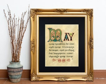 Traditional Irish Blessing Fine Art Print, May Your Troubles Be Less and Your Blessings Be More