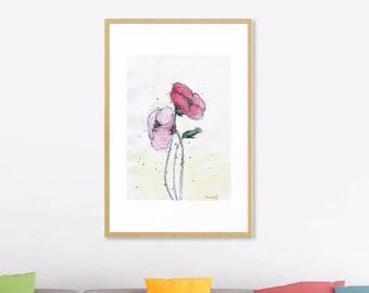 Poppies Art Print Original Watercolor Artwork, Red poppy Art Floral Watercolor Wall Art Print,   Modern Art Home decor, Watercolor Art