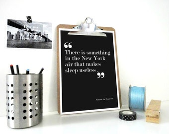 Literary Print Something in the New York Air, Simone de Beauvoir, Quote Print, Typography Poster, New York, Wall Art Print, Grey or White