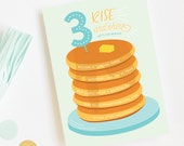 Pancake Birthday Party Invitations, Brunch Birthday Party, Kid Birthday Party Invitations, Pajama Party Invitations, Breakfast Party Invites
