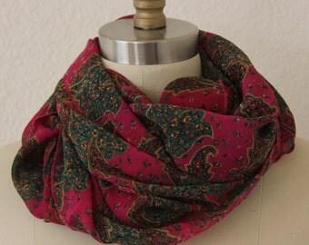 Upcycled sari scarf, dark fuchsia, hunter green, golden, paisley, long scarf