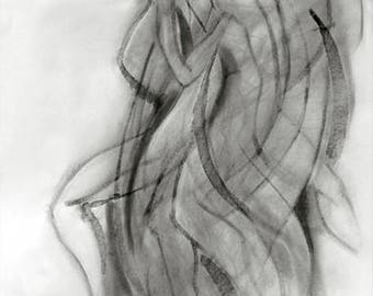 original abstract charcoal drawing, Dancer in Motion, life drawing, female, clothed, modern, dancing, figure