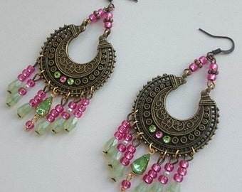 Boho tribal pink-light green earrings