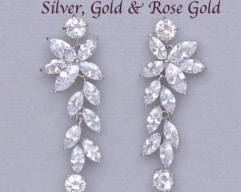 Bridal Earrings, Chandelier Earrings, Crystal Earrings, Crystal Bridal Earrings, GOLD, ROSE GOLD & Rhodium, Crystal Wedding Earrings, Maxime