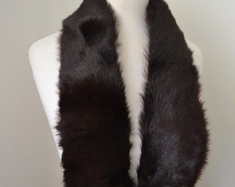 1940s Rich auburn brown glossy mink fur collar tippet / 40s russet red brown satin lined stole