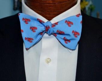 Lobster Bow Tie, Men's Bow Tie, Adjustable Bow Tie, Self-tie Bow Tie, Pre-tied Bow Tie, Southern Bow Tie, Preppy Bow Tie, Red and Blue