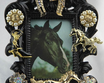 Gorgeous, Jeweled, Gold, Horse Themed Black, Ornate Picture Frame, All Occasion Gift