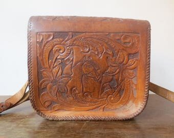 Vintage '60s/'70s Tooled Leather Purse w/ Floral and Horse Detail, Monogrammed Inside!