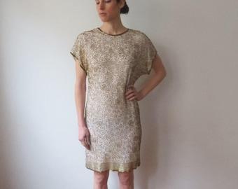 Vintage '80s Laurence Kazar White Silk & Gold Beaded Shift Party Dress, Gorgeous Drape! Small