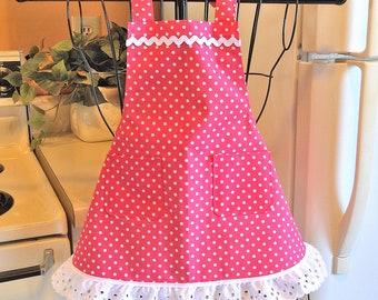 Toddler Little Girl's Polka Dot Apron