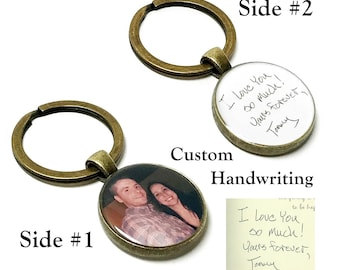 Custom Handwriting Keychain. Create Your Own Photo And Signature Keychain. Double Sided Actual Handwritten Keyring. Gifts For Her or Him.