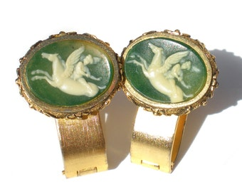 Dante Pegasus Cuff Links Museum Masterpiece Collection Green Cameo Incolay Carved Cupid on Pegasus Horse - Wrap Around Cufflinks