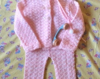 Vintage acrylic baby girl knit suit by Lerner, Japan, stretch, winter baby girl