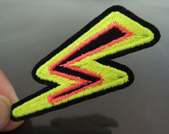 Flash Patches - Iron on Patches or Sewing on Patch Neon Yellow Orange Patches Embroidered Patch Lightning Bolt Embellishment