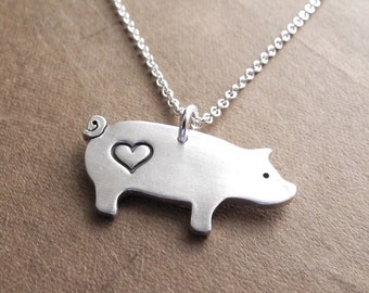 Pig Love Necklace, I Love Pigs Necklace, Fine Silver, Sterling Silver Chain, Made To Order