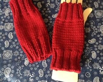 Fingerless Red Gloves