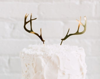 Deer Antler Cake Topper 2 CT. , Laser Cut, Acrylic, Holiday and Christmas Cake Toppers, Christmas Decor