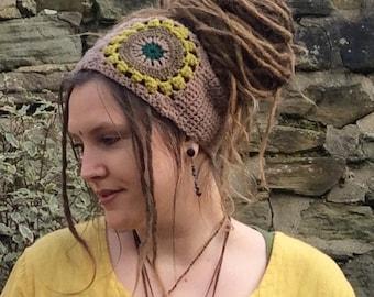 Crochet Sunflower Dreadband, Headband, Dread Wrap, Hair band