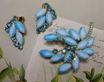 Shaded Blue JULIANA D & E Rhinestone Leaf Brooch and Earrings Set   KAZ13