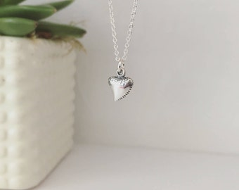 Shark tooth necklace, sterling silver necklace, silver shark tooth, protection, diving charm