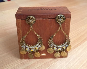 Stamped Brass Coin Chandelier Earrings //1970s Pierced Bohemian Earrings