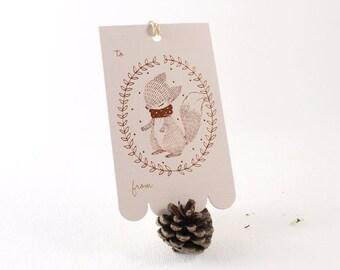 10 Copper Foil Tags - Fox Wreath